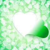 Licht-offenes Schnitt-Herz-Hintergrund-Grün Stockbild