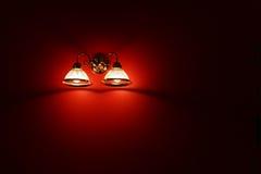 Licht op de muur Stock Foto's