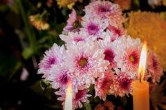 Licht op kaarsen en bloemen stock afbeeldingen
