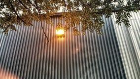 Licht op muur buiten Royalty-vrije Stock Afbeelding