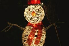 Licht op Sneeuwman Stock Afbeelding