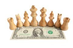 Licht schaak op één Amerikaanse dollarrekening met witte achtergrond Royalty-vrije Stock Foto