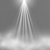 Licht Schijnwerperwit Malplaatje voor lichteffect voor een transparante achtergrond Vector illustratie Stock Afbeelding