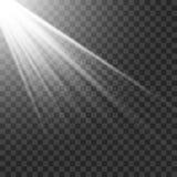 Licht Schijnwerperwit Malplaatje voor lichteffect voor een transparante achtergrond Vector illustratie Stock Fotografie