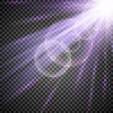 Licht Schijnwerperwit Malplaatje voor lichteffect voor een transparante achtergrond Vector illustratie Stock Foto's