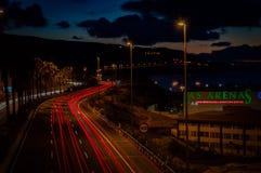 Licht-Spuren im Las Palmas stockfoto