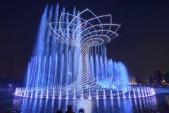 Licht toon bij Boom van het Leven 15, EXPO 2015 Milaan Stock Afbeeldingen