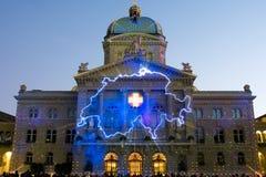 Licht toon bij de Zwitserse overheidsbouw Stock Afbeeldingen