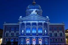 Licht toon bij de Zwitserse overheidsbouw Royalty-vrije Stock Fotografie