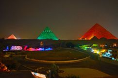Licht toon in Giza, Egypte stock afbeelding