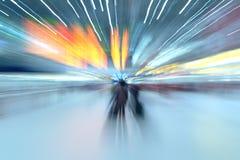 Licht toon, vat lange blootstelling, het lichte schilderen samen Royalty-vrije Stock Foto's