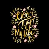 Licht u omhoog mijn het levenshand het van letters voorzien stock illustratie