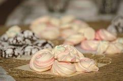 Licht und luftige rosa Eibische auf dem Hintergrund von Schokoladenplätzchen lizenzfreies stockfoto