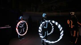 Licht verbazen toont in partijclub stock videobeelden