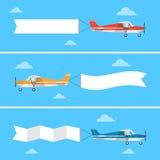 Licht vliegtuig die een banner in een vlakke stijl trekken vector illustratie
