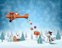 Licht vliegtuig met de Kerstman vector illustratie