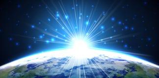 Licht von Planetenerde vom Raum nachts Stockfoto