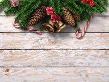 Licht-Weihnachtshölzerner Hintergrund der Wiedergabe 3D Lizenzfreie Stockbilder