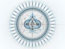 Lichtblauw abstract fractal uurwerktoestel vector illustratie