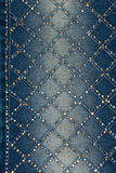 Lichtblauw denim met gele en zilveren bergkristallen Stock Foto's