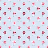 Lichtblauw Naadloos Patroon met Rode en Witte Lollys Stock Afbeeldingen
