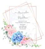 Lichtblauwe en roze hydrangea hortensia, witte pioen, ranunculus, eucalyptus stock illustratie