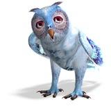 Lichtblauwe fantasie owl.3D die met het knippen teruggeeft Stock Afbeeldingen