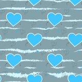 Lichtblauwe harten op een grijze achtergrond Het naadloze patroon van het hart Vector illustratie royalty-vrije illustratie