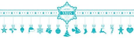 Lichtblauwe het hangen Kerstmis siert banner met sneeuwvlok Stock Afbeelding