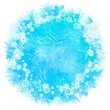 Lichtblauwe Ronde Achtergrond met sneeuwvlokken Kader van het Vallen wh royalty-vrije illustratie