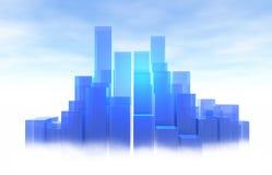 Lichtblauwe Stad Royalty-vrije Stock Afbeeldingen
