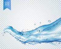 lichtblauwe water of vloeistof die in golvende stijl op transparant stromen royalty-vrije illustratie