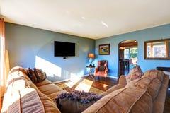 Lichtblauwe woonkamer Royalty-vrije Stock Afbeeldingen
