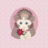 Lichtbruine aap die een rode bloem houdt Stock Foto's
