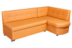 Lichtbruine Sectionele kunstleerhoek Sofa Couch, dinne Stock Afbeeldingen