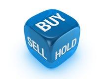 Lichtdurchlässige blaue Würfel mit Kauf, Verkauf, Einflusszeichen Lizenzfreie Stockfotos