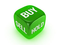 Lichtdurchlässige grüne Würfel mit Kauf, Verkauf, Einflusszeichen Lizenzfreie Stockfotos