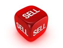 Lichtdurchlässige rote Würfel mit Verkaufszeichen Stockbild