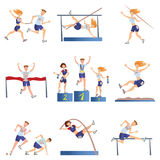Lichte atletiekreeks Sportenmannen en vrouwen belast met diverse soorten atletiek Vector illustratie, die op wit wordt geïsoleerd stock illustratie