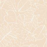 Lichte beige achtergrond met bladeren van de overzichts de hand getrokken herfst Vectordalings naadloos patroon royalty-vrije illustratie