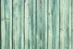 Lichte blauwgroene doorstane houten omheining Royalty-vrije Stock Fotografie