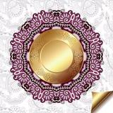 Lichte bloemenachtergrond met gouden cirkelpatroon Royalty-vrije Stock Afbeeldingen