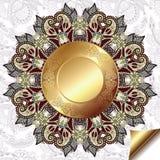 Lichte bloemenachtergrond met gouden cirkelpatroon Stock Afbeelding