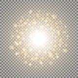 Lichte cirkel met dosts en vonken, gouden kleur stock illustratie