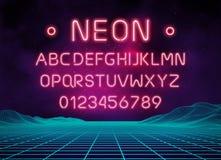 Lichte de brievenreeks van de neondoopvont Het vectortype van barteken Gloeiend casino en bioskoop rood tekstalfabet op bakstenen stock illustratie