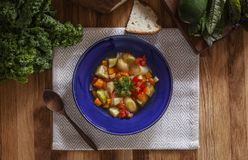 Lichte de winter groentesoep in blauwe kom Stock Afbeelding