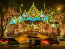 Lichte decoratie voor de viering van de Koninginverjaardag in Bangkok Royalty-vrije Stock Foto's