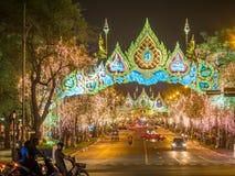 Lichte decoratie voor de viering van de Koninginverjaardag in Bangkok Stock Afbeelding