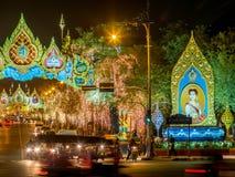 Lichte decoratie voor de viering van de Koninginverjaardag in Bangkok Royalty-vrije Stock Afbeelding