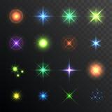 Lichte glans, hoogtepunt Geplaatste lensgloed Verlichtingsgevolgen van flits Vector Royalty-vrije Stock Foto's